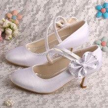 Wedopus MW1251สีขาวMedส้นรองเท้าแต่งงานสุภาพสตรีซาตินรองเท้าปิดนิ้วเท้าDropship