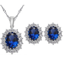 Gold Color Jewelry Sets Blue/Green Austrian Oval Crystal Rhinestone Earring Necklace Pendant Party Jewelry Set for Women