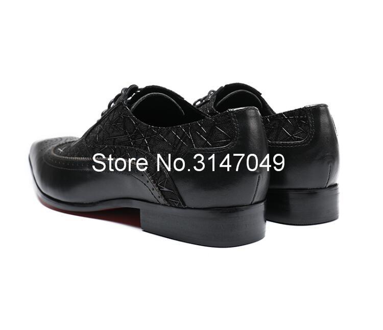 Homens Sapatos de Couro Preto Homens de Impressão S Vestido Casual Shoes Lace Up Sapatos Masculinos Feitos À Mão Plana Grande Tamanho Do Dedo Do Pé Quadrado sapatos de Casamento do noivo - 2
