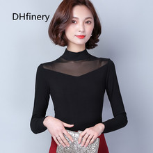 DHfinery mesh lace top women autumn winter long-sleeve stand collar modal perspect shirt black warm tshirt plus size S-3xl 1802
