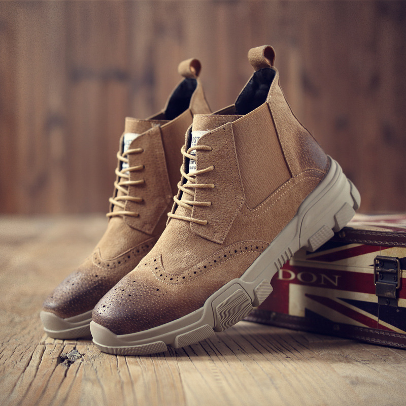 Martin botas, sapatos masculinos, couro real gravado, Brooke das botas dos homens Chelsea