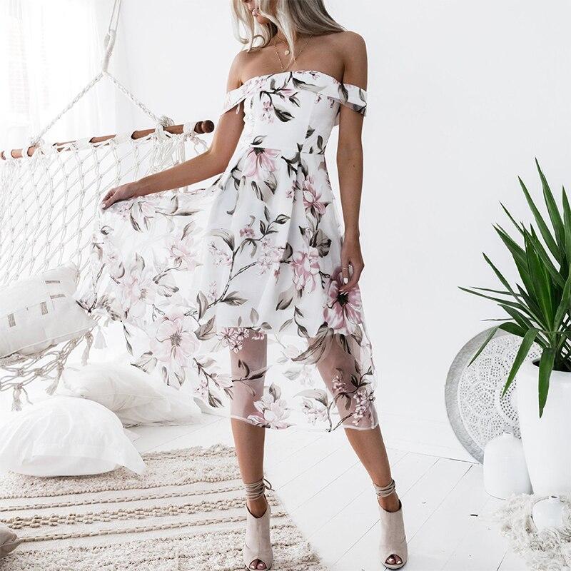 Женское платье с цветочным принтом Лето 2018, с открытыми плечами, сеточка, модные богемные короткие рукава, до середины икры, трапециевидные ...