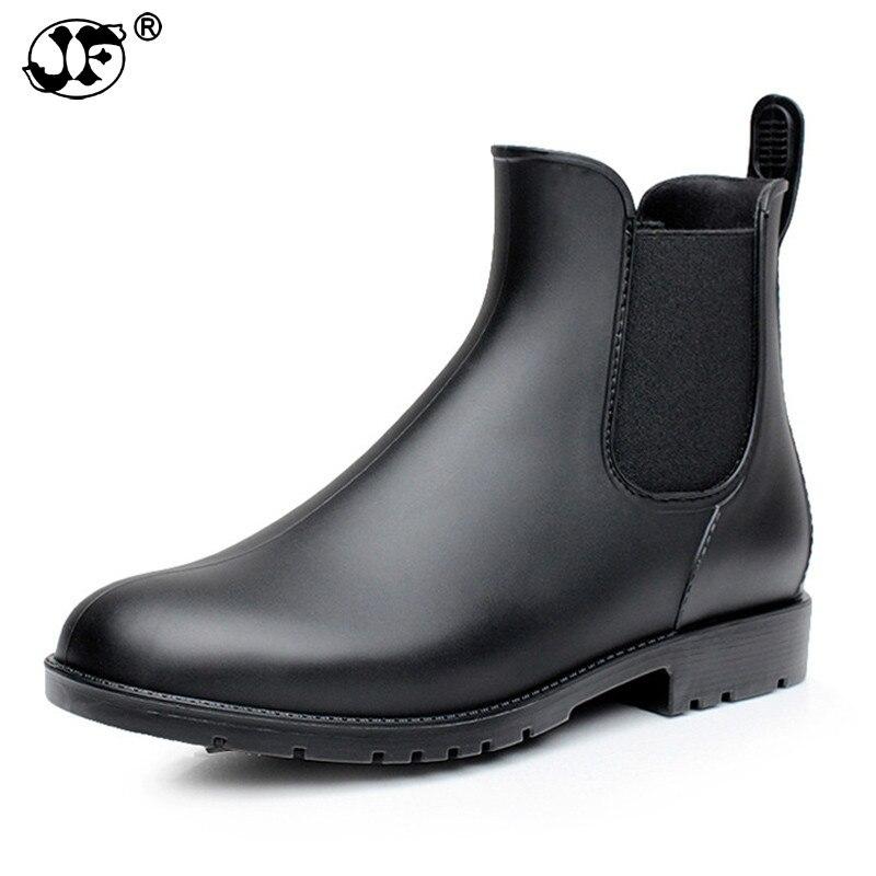 Мужские резиновые непромокаемые ботинки; Модные ботинки «Челси»; Мужские повседневные водонепроницаемые ботильоны без застежки; Обувь из
