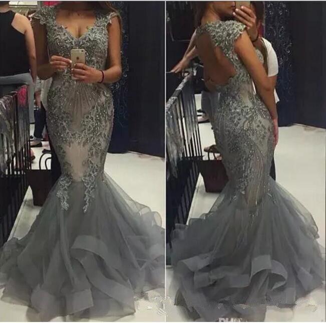 Grey Mermaid lace evening Dress kadisua 2017 vestido de festa Backless Vestidos Beaded Appliques Formal evening Party dresses