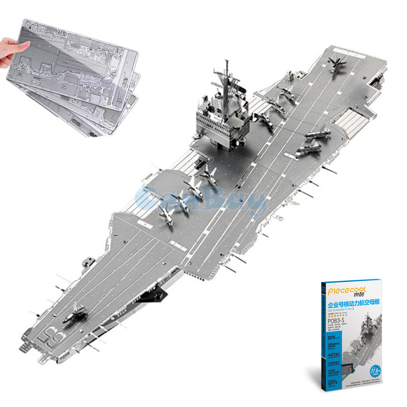 Piececool 2017 Newest 3D Metal Puzzles of USS Enterprise From 3 Metal Pieces 3D Metal Model Kits DIY Funny Gifts for Kids Toys manual metal bending machine press brake for making metal model diy s n 20012