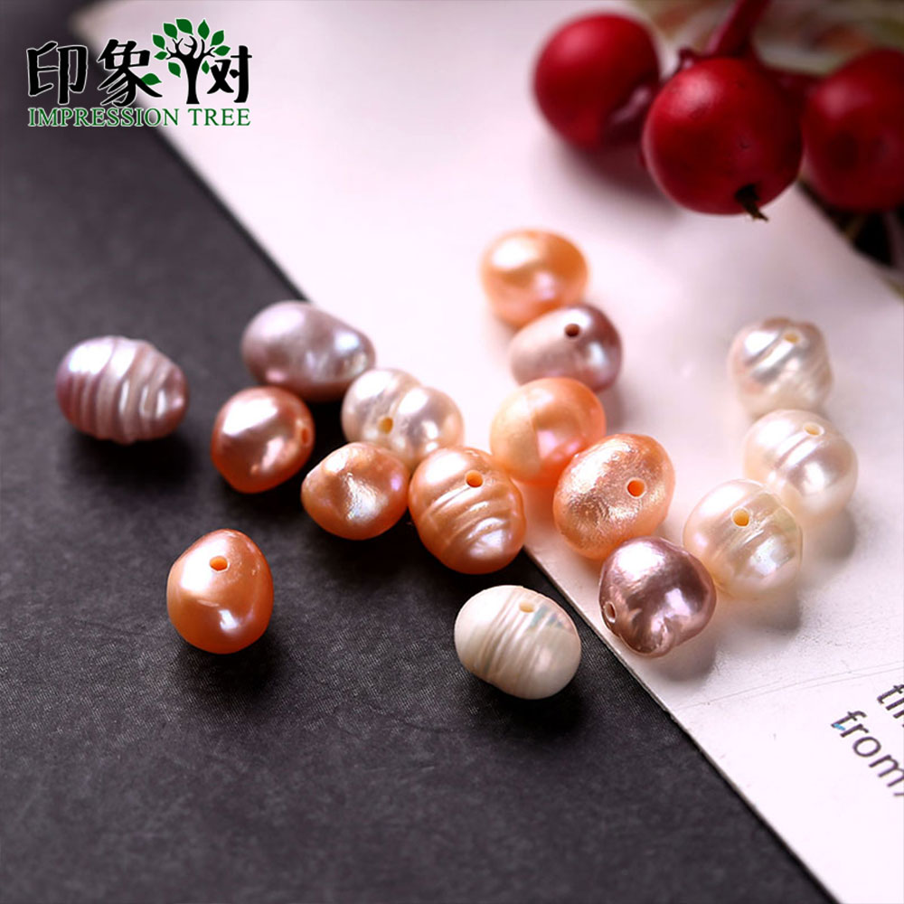 6-7 mm Orange Lime Mixed Colour Rice Teardrop Head-drilled Freshwater Pearls