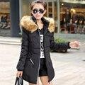 2016 осенние и зимние женщины парка верхняя одежда утка пуховик с большой меховой воротник Большой размер m-xxxxl утолщение длинное пальто