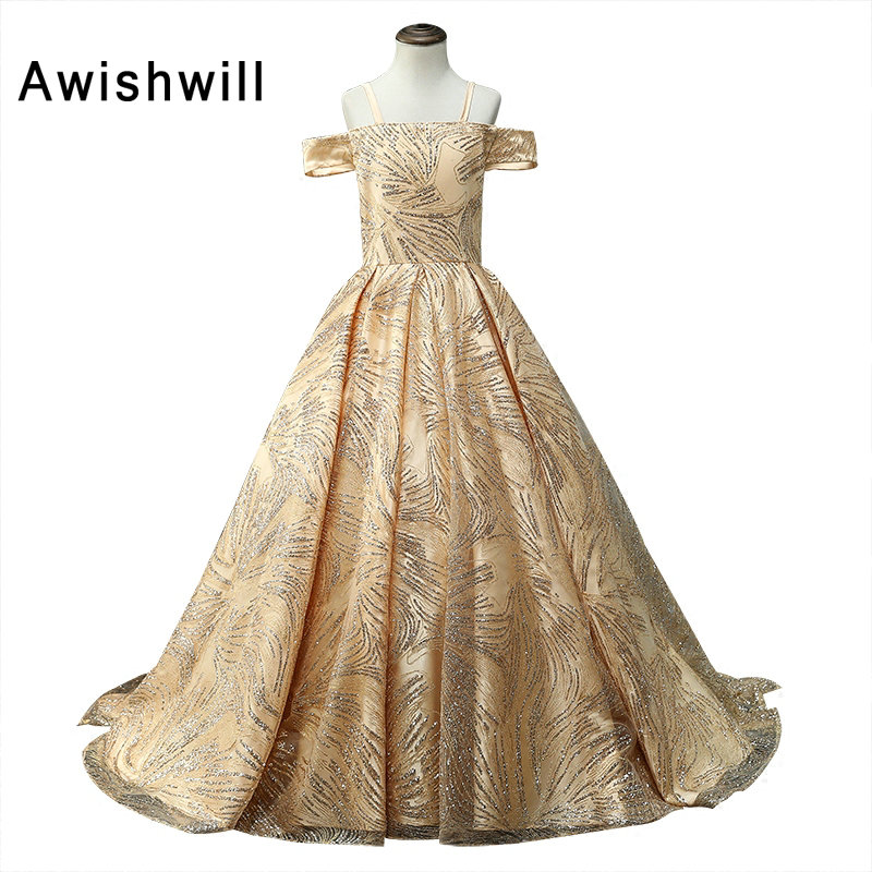 2019 Gold Color Princess   Flower     Girl     Dresses   for Wedding Ball Gown First Communion   Dresses   For   Girls   Off Shoulder Pageant Gowns