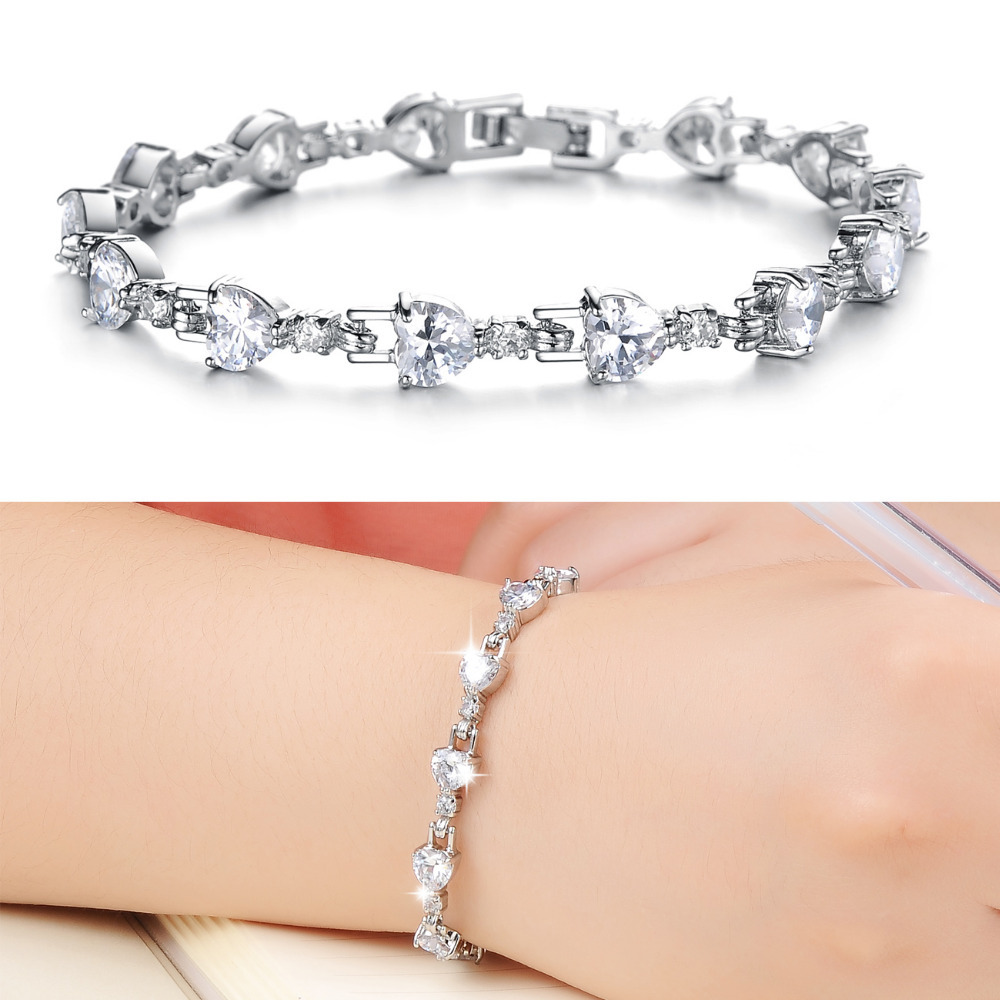 Roman wedding Bracelet Top white gold plated Hand set ...
