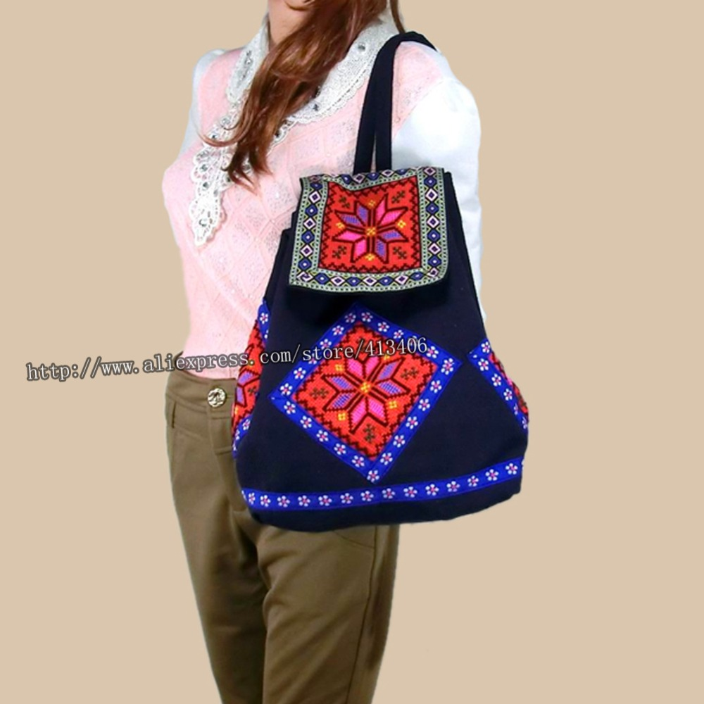 Zaino etnico indiano Hmong tailandese tribale Boho Zaino etnico indiano Boho hippie, borsa a spalla SYS-020