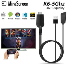TV Dongle Dual Band 2.4GHz 5.8GHz 4K HD WiFi Miracast Airplay DLNA Mirascreen k6