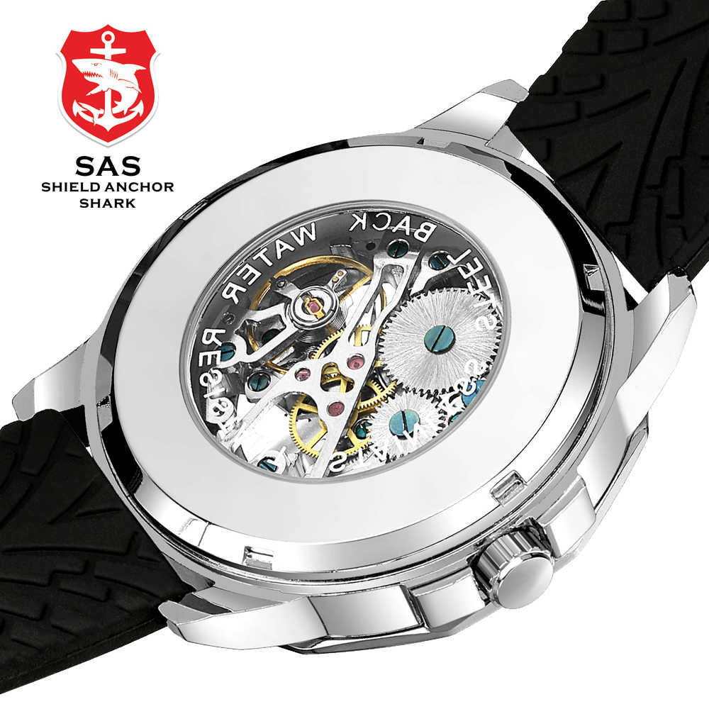 2019 montre pour hommes automatique mécanique montre-bracelet hommes squelette montres de luxe marque SAS montre-bracelet requin mâle horloge Relogio