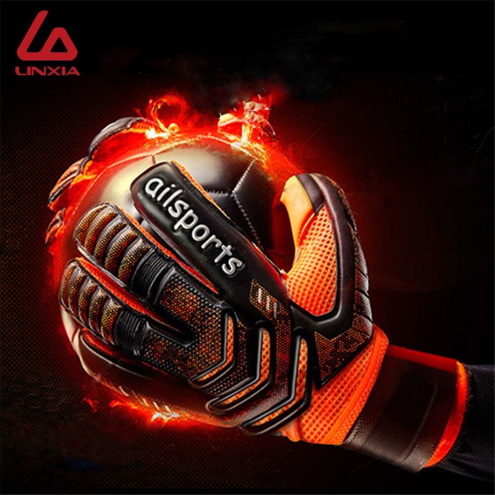 Los hombres de fútbol profesional guantes de portero de protección de dedo objetivo engrosada guantes de látex de fútbol para futbol futebol portero