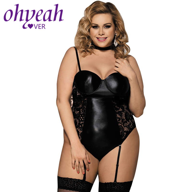 Ohyeahlover Combinaison Femme Short Plus Size   Jumpsuits   Macacao Feminino Curto RM80384 Skinny Black Vinyl and Lace Garter Teddy