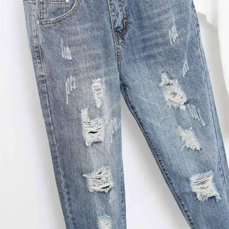 Большие размеры 5XL Джинсы бойфренда женские свободные шаровары женские джинсы Femme Повседневные уличные рваные джинсы vaqueeros Mujer C5329