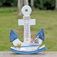 Wooden Shake Thermometer Mediterranean Style Bar Handicraft Furnishing Articles Home Decor Anchor Thermometer Pendant Crafts 054