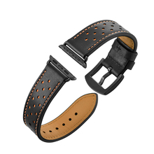 Watch Band Strap For Apple Watch 4 3 2 1 40mm 44mm , VIOTOO Black Orange Genuine Leather WatchStrap Band For Iwatch 38mm 42mm цена и фото