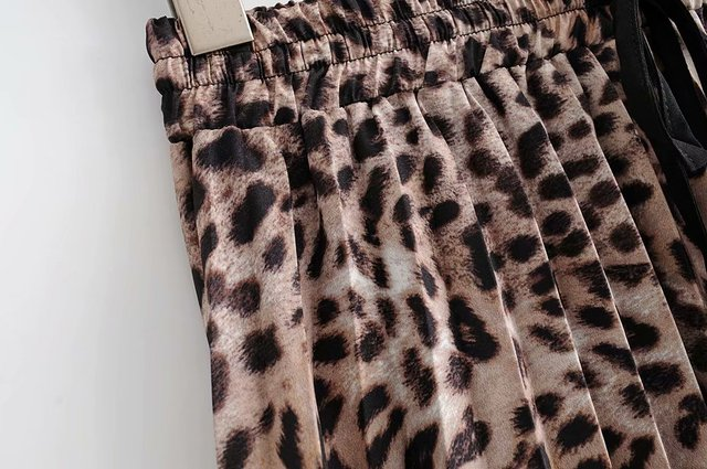 2018 New Women Vintage leopard printing pleated midi skirt faldas mujer ladies elastic waist sashes chic mid-calf skirts QUN119 5