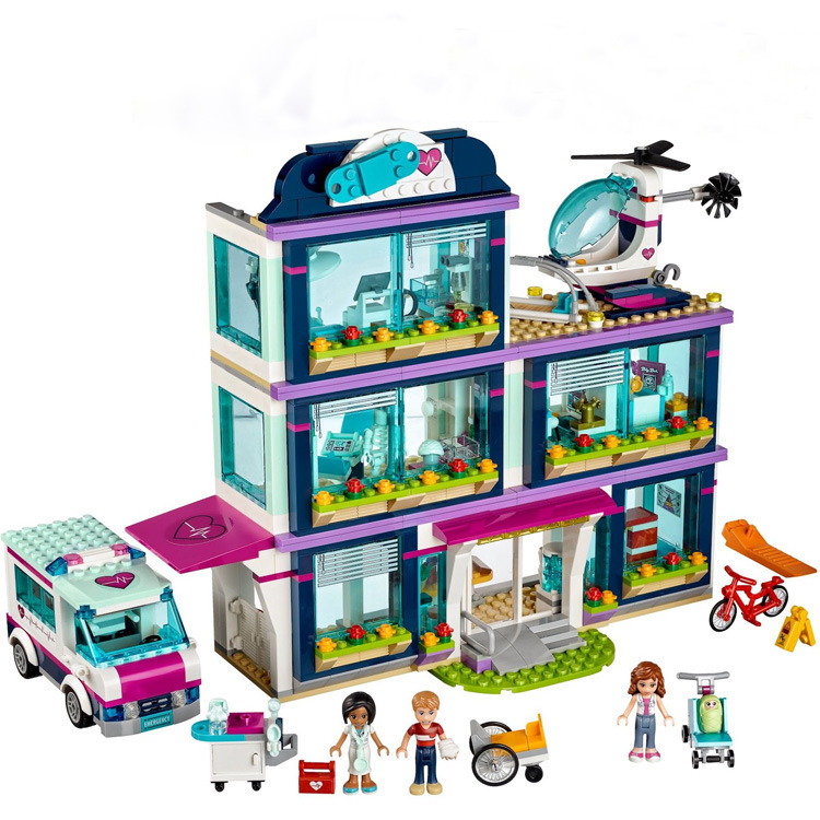 Building Blocks Friends Girls Series 01039 932pcs Heartlake Hospital Compatible 41318 Bricks Lepin friend girl Friendship House allenjoy background photography pink birthday table flower cake wood backdrop photocall photobooth photo studio