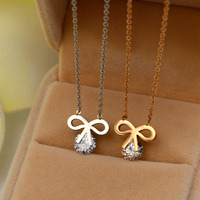 New Korean Cute Girl Clip Single Drill Bow Clavicular Necklace For Women Fashion Titanium Rose Gold