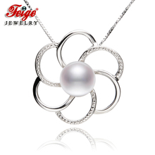 Flower-shaped Genuine 925 Silver Pendant Necklaces For Women's 9-10mm White Natural Freshwater Pearls Fine Jewelry цена и фото