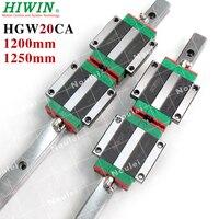 HIWIN 2шт HGR20 линейный рельс 1200 мм и 4 шт HGW20CC HGW20CA CNC линейный направляющий блок CNC Комплект HGW20 1250 мм