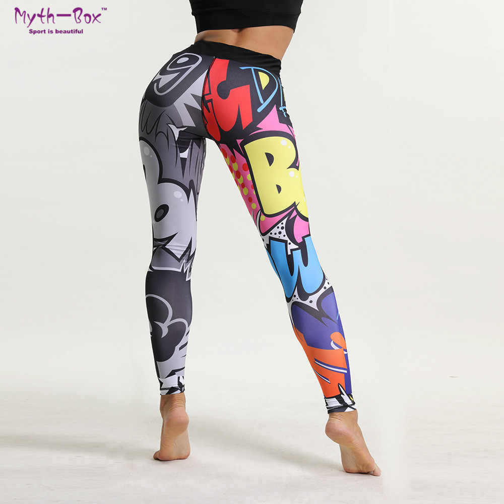 31309518d87b4 Для женщин кальсоны йоги фитнес Спорт Леггинсы для письмо 3D печати Тонкий  Эластичный Капри быстросохнущая бег