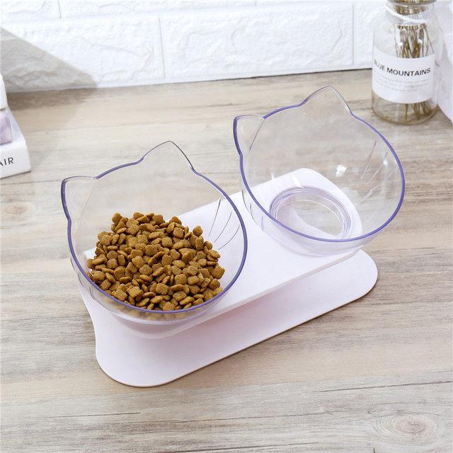Explosive Cat Double Bowl Cat Bowl Dog Bowl Transparent AS Material Non-slip Food Bowl With Protection Cervical Transparent Cat 3