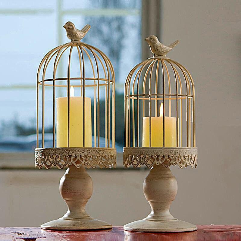 European Style Mediterranean Iron Art Decoration Birdcage Candle