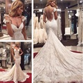 Sexy Lace Backless Wedding Dresses Deep V Neck Cap Sleeve Mermaid Bridal Gowns with Long Tail Vestido de Noiva Sexy 2015