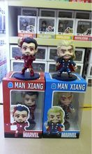 12cm Marvel Anime The Avengers Action Figures Mini Ironman Garage Kits Cute Thor Model with Gift