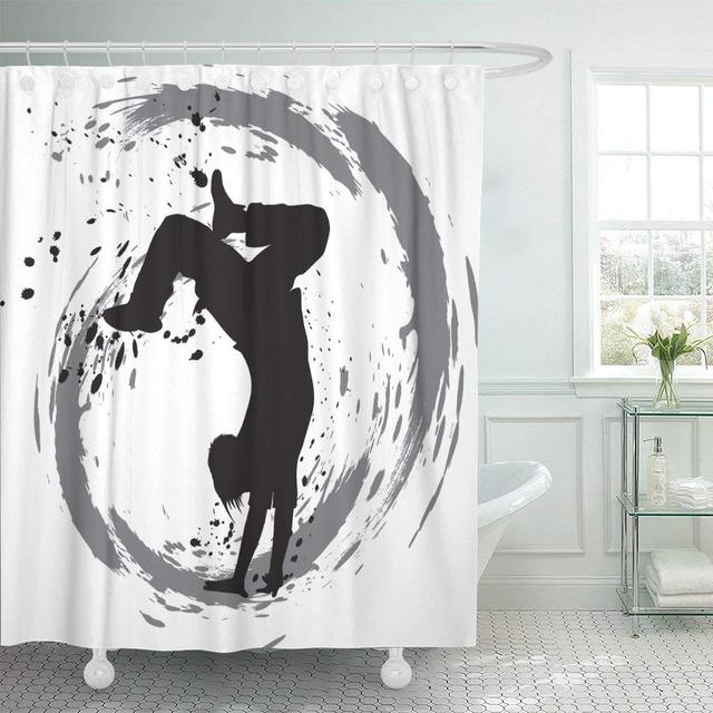 Waterproof Shower Curtain Curtains Black Dance Dancing Silhouette Breakdance Street Hip Hop Dancer Jeans Music Break