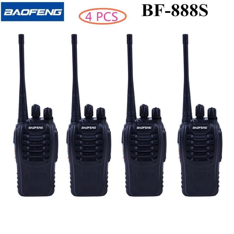 4 шт. Baofeng BF-888S Двухканальные рации 5 Вт UHF 400-470 мГц ручной Портативный CB Любительское Радио Двухканальные рации установить связь оборудование