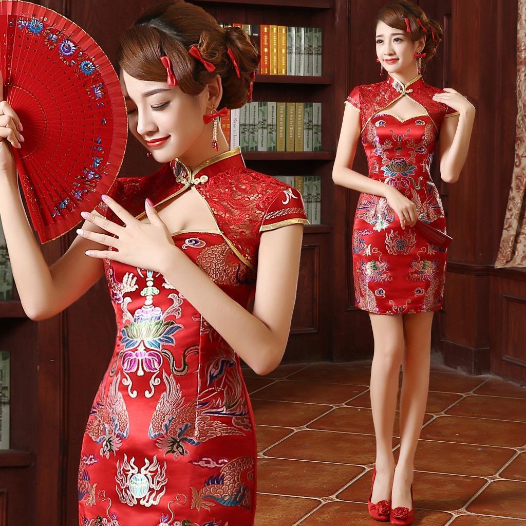 Dragon Red Phoenix Oriental Silk Longfeng Formal Satin