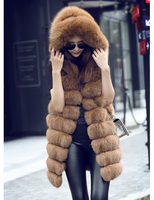 Best Quality Natural Fox Fur Vest Coat Hooded Real Fur Vests For Women's Long Genuine Fur Waistcoat Customize Any Size Colors