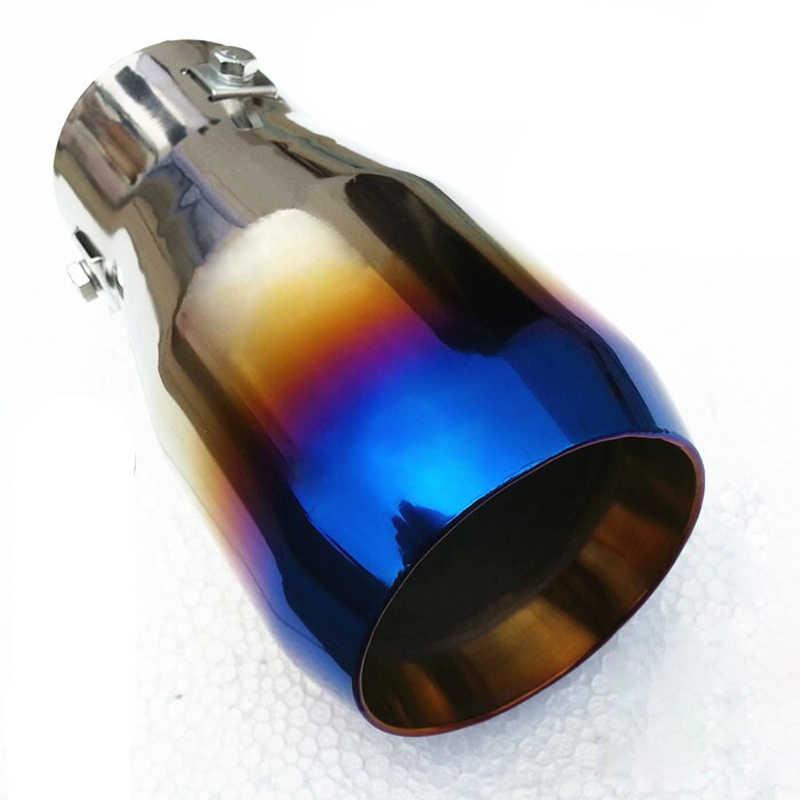 DSYCAR Универсальная Автомобильная модификация на гриле синяя из нержавеющей стали круглая выхлопная труба глушитель наконечник выхлопной трубы покрытие автомобиля Стайлинг