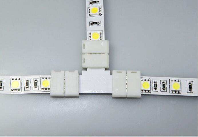 10x 4-pin 90-Degree L-Shaped Solderless Coupler Connector for 10mm RGB LED Strip