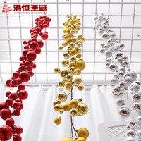 Christmas Tree Ornaments 180 12cm Gold Silver Red Rattan Balls Chain String 350g XmasC015