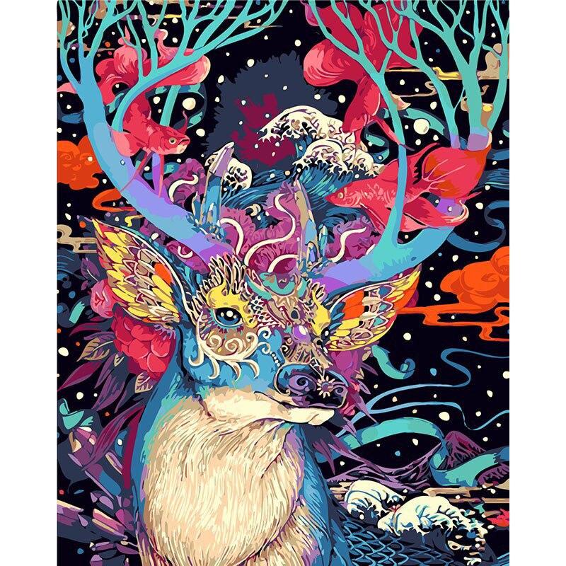 Sans cadre De Noël Cerfs Animaux BRICOLAGE Peinture By Numéros Kits Peint À La Main Peinture À L'huile Cadeau Unique Pour La Maison Mur Motifs 40x50 cm
