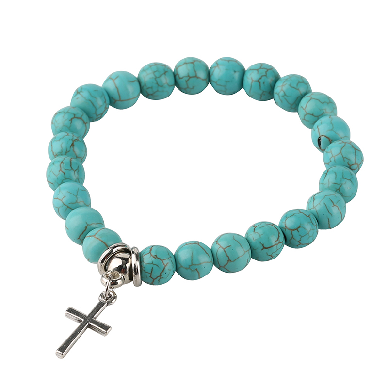 Classic Ladies Charm Bracelets Women Circle Jewelry Hollow Tree Cross Natural Stone Alloy Beaded Bracelet Gift