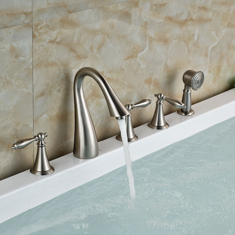 Deck Mounted Brushed Nickel Tub Spout Deck Mounted Sink Mixer Tap Hand Sprayer