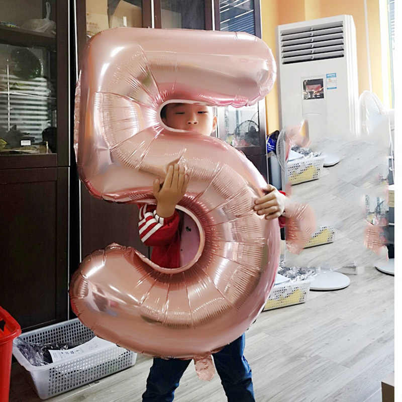40 Inch Rose Gold Digital Aluminum Balloon Birthday Wedding Party Decoration Supplies Floating Aluminum Foil Air Balloons