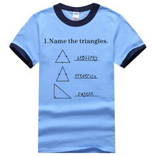 Science Shirt For Adult Name The Triangles Geometric Printed Ringer T Shirt 2017 Summer 100% Cotton Loose Short Sleeve Shirt Men