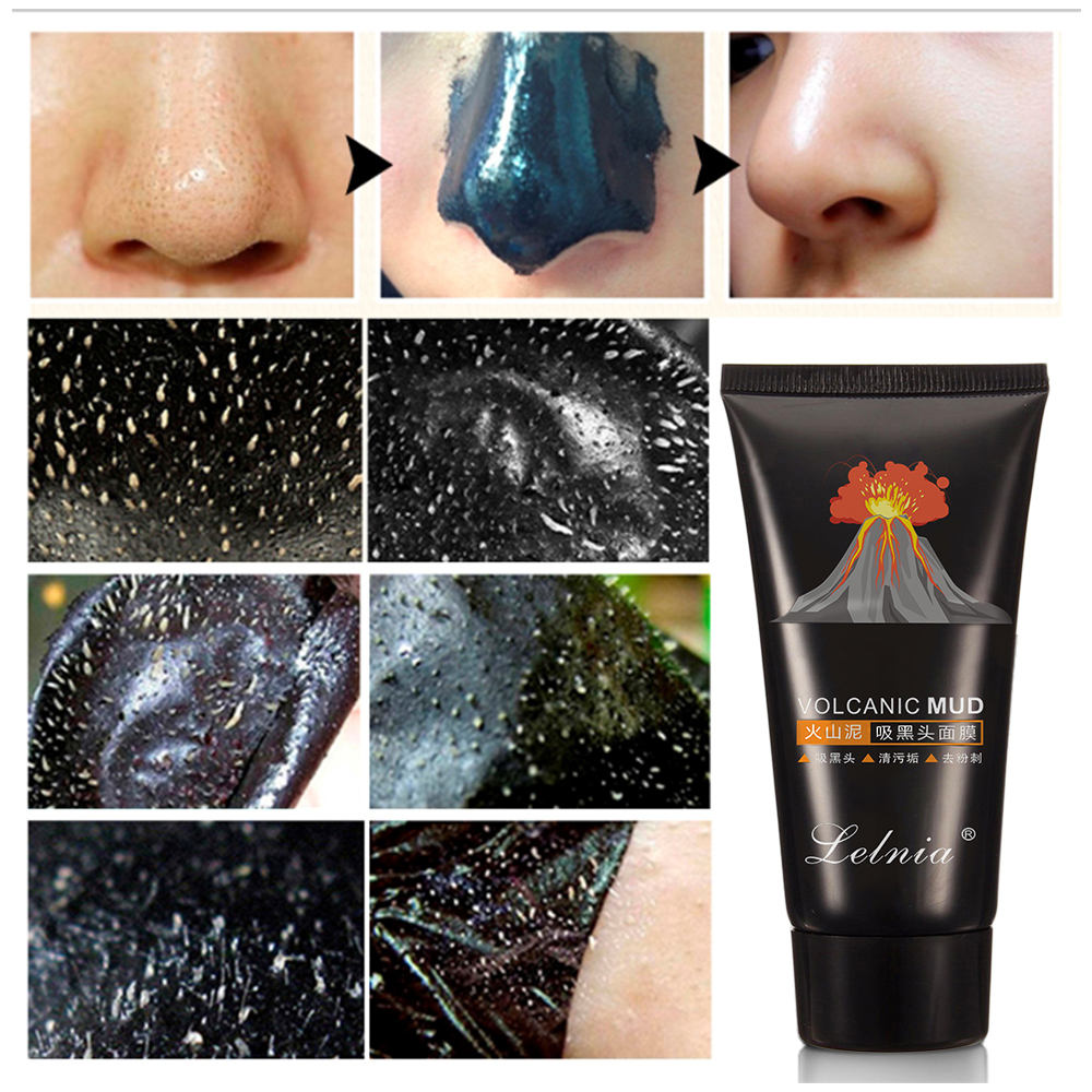 1PCs Black Mask Mud Face Mask Black Head Pore Strip Peel Nose Care Deep Cleaner Blackhead Removal Skin Care Clay Masks 60g in Treatments Masks from Beauty Health