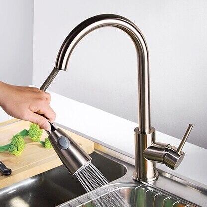 Retirer 360 degrés Rotation cuivre évier de cuisine brossé tirer vers le bas mélangeur robinet mitigeur monotrou pivotant bec évier robinet