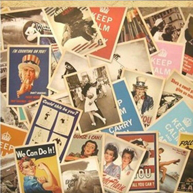 32 Pcs World War II Greeting Cards Collector Retro Nostalgia Postcards Cartoon Card 10x14cm Carte Postale Office School Supplies