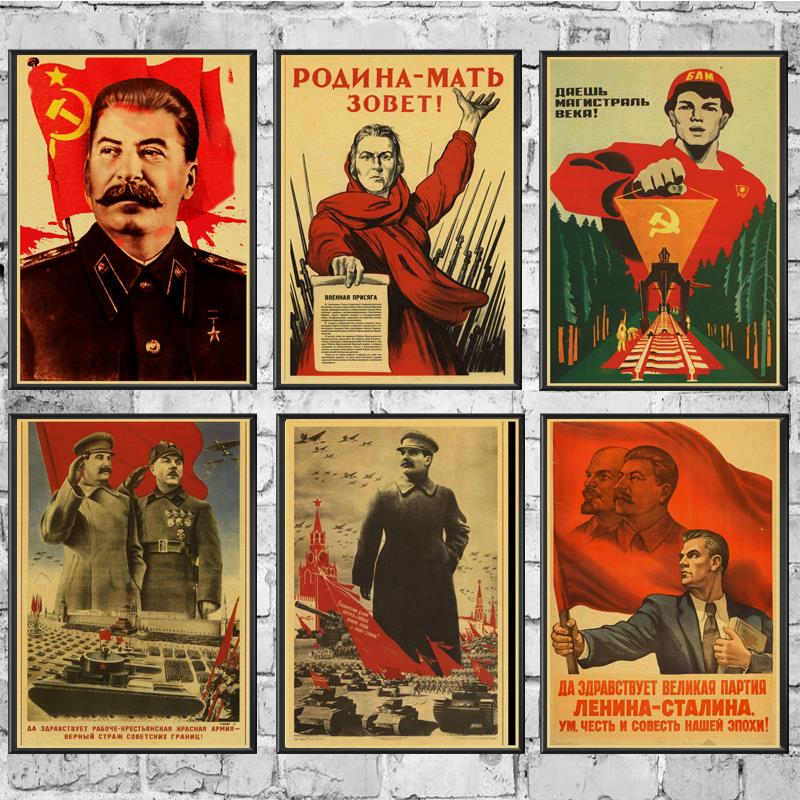 Russian Comrade Joseph Stalin Poster Wall Stickers Vintage Poster Prints High Quality For Bar And Home Decor