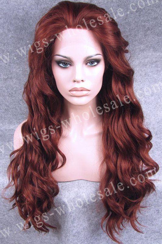 ФОТО Top Quality Fashion  Reddish Long Wavy Wig Synthetic Lace Front Wig Free Shipping