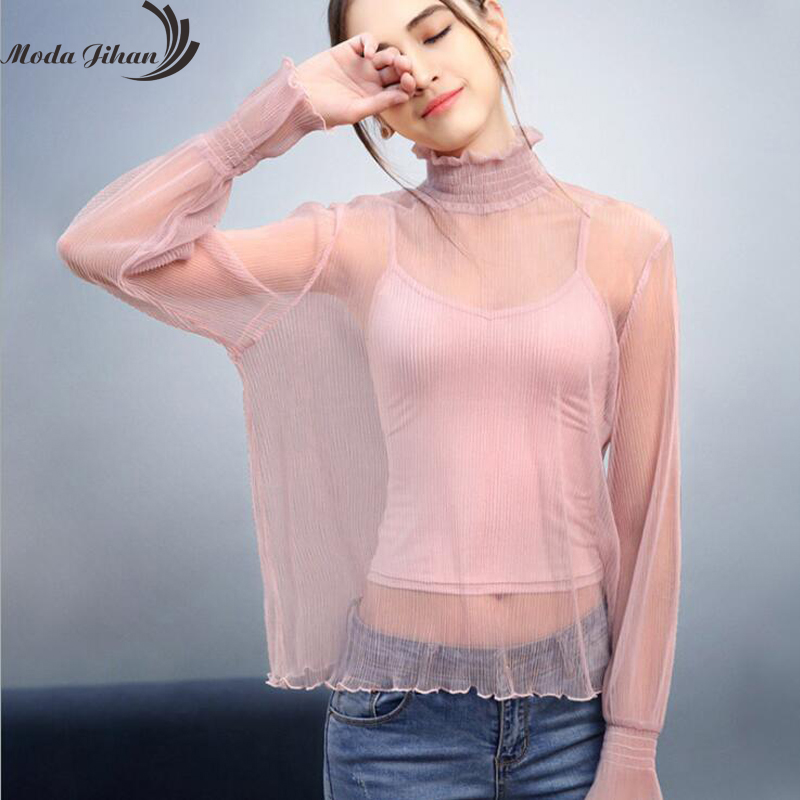 Moda Jihan Bottoming Shirt Folded Chiffon Shirt Women Sexy See Through Basic Flare Sleeve Tops Female Ladies Tshirts New