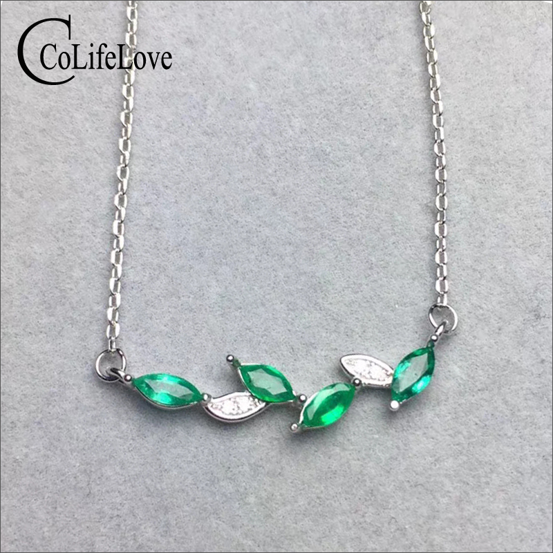 Fashion silver leaf necklace for party 4 pcs natural Zambia emerald silver necklace solid 925 silver